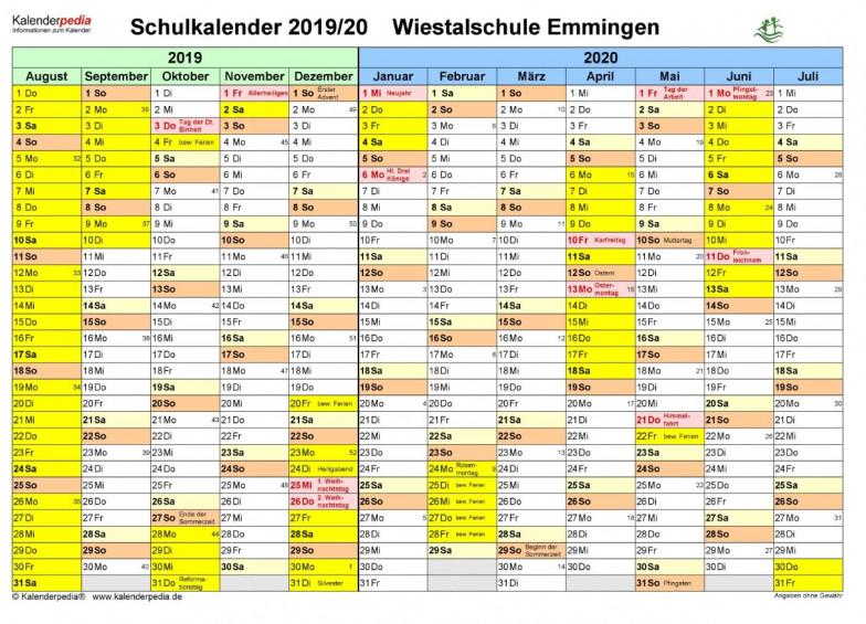 Ferienplan 2019-2020 Wiestalschule