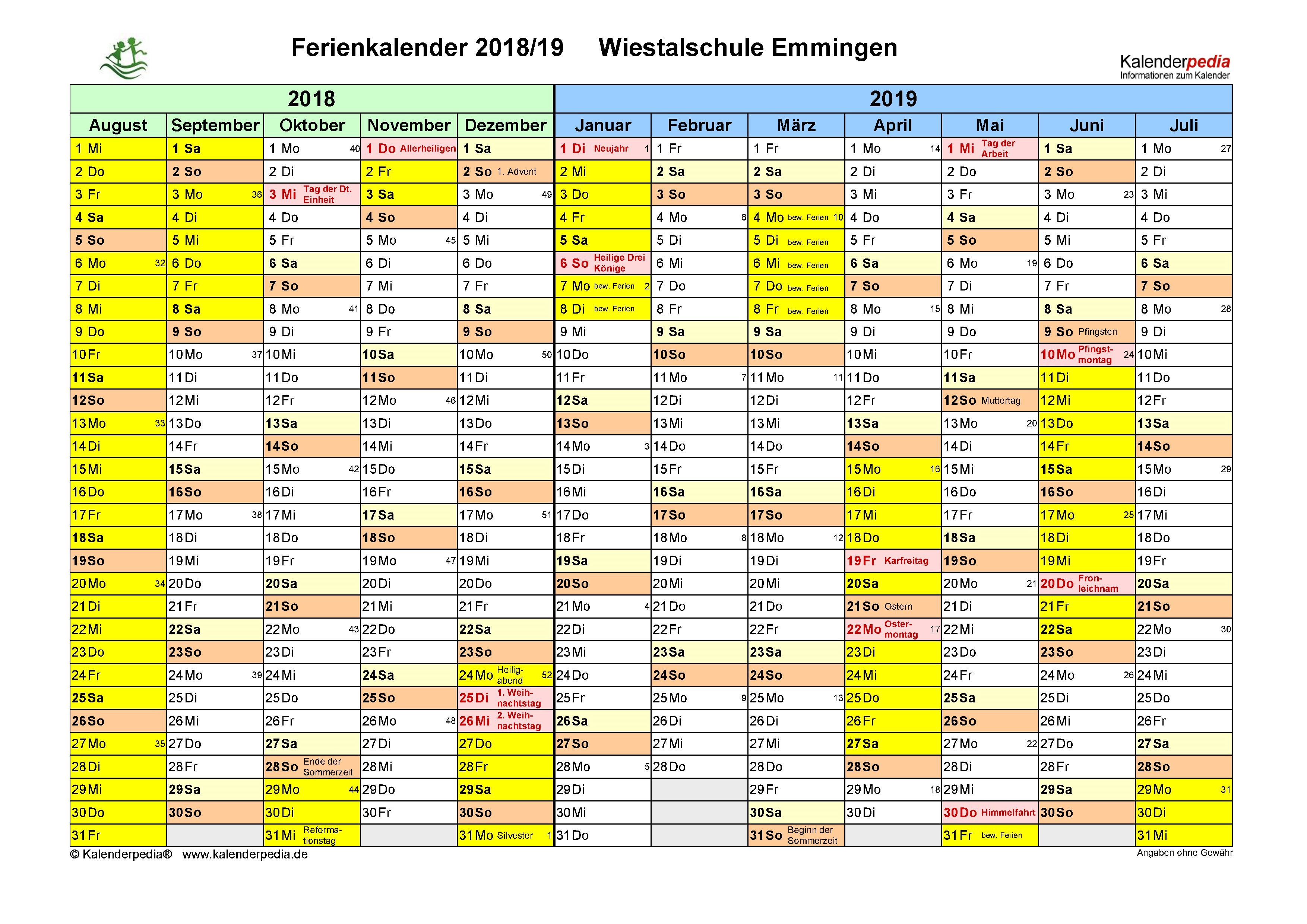 Ferienplan 2018-2019 Wiestalschule