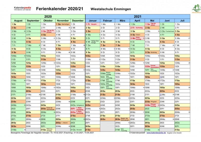 Ferienkalender 2020-2021